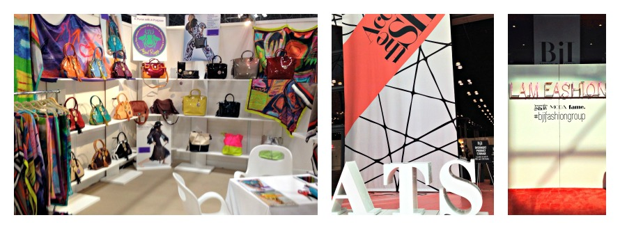 """Lef to right: ARC booth #224, ATS, """"I Am Fashion neon sign"""""""