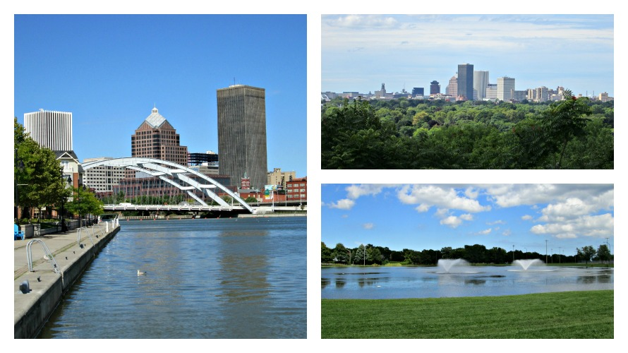 View of downtown along the Genesee River in Corn Hill; The Rochester skyline; Cobbs Hill Park