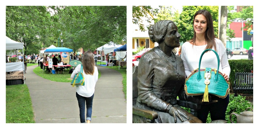Left: Walking into the Susan B. Anthony Festival on Aug. 17th with Ms. Anthony by my side; Right: The two Ms. Anthonys