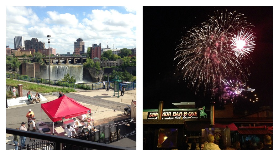 View of the falls, 4th of July fireworks at Dinosaur BBQ