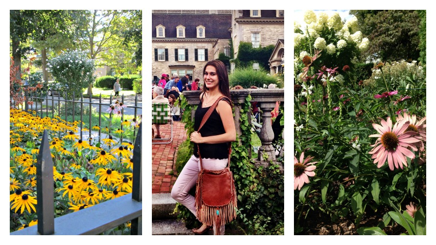 Summer blossoms around town; Stephanie and Miss Annie at Garden Vibes at the George Eastman House