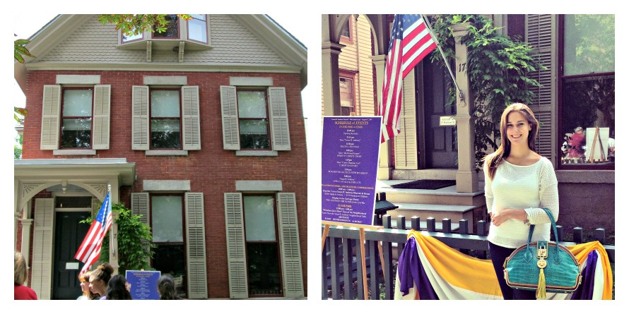 Left: The Susan B. Anthony House, 17 Madison St, Rochester, NY; Right: Outside The Susan B. Anthony House with the Ms. Anthony from Abigail Riggs Collection
