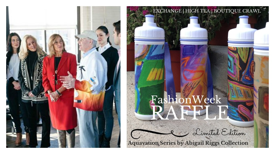 Left: Elaine Spaull (center) speaking at a press conference for Fashion Week (photo from Facebook); Right: The limited edition Aquavation series by Abigail Riggs Collection water bottles