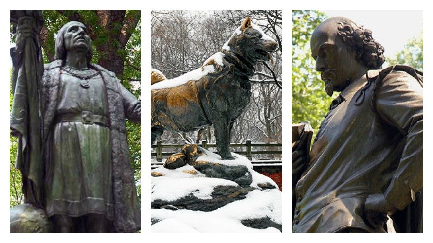 Where are the women?  Statues of (from left to right) Christopher Columbus, Balto and William Shakespeare (photos from CentralParkNYC.org)