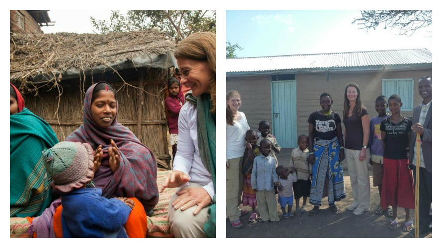 Left: Speaking with women in India; Right: With her daughter Jenn & the family they stayed with in Tanzania (photos c/o Melinda Gates Facebook)