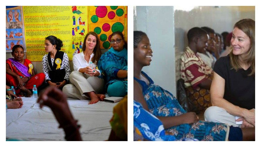 Left: Sitting with women in India; Right: Talking with women in Nairobi about family planning (photos c/o Melinda Gates Facebook)