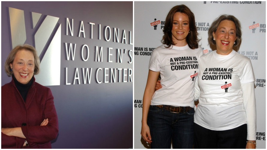Left: Marcia Greenberger (photo c/o Indiana University) Right: Elizabeth Banks and Marcia Greenberger at the NWLC Rally, 2009 (photo Mark Sullivan/Getty Images North America)