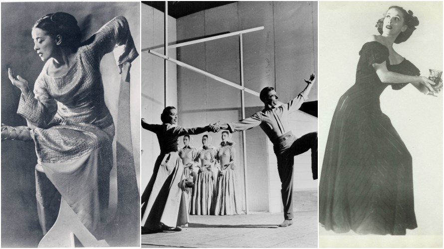"(Left to Right): Martha Graham; Martha Graham, Erick Hawkins and the Martha Graham Dance Company in Martha Graham's ""Appalachian Spring"" (Courtesy of the Library of Congress); Martha Graham in Martha Graham's ""Deaths and Entrances."" (Photo by Chris Alexander)"