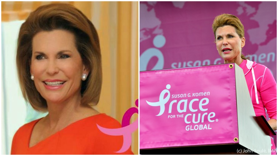 Left: Nancy Brinker c/o @nancyGbrinker Twitter Right: Nancy Brinker at the 2012 Global Race For the Cure (photo courtesy of John Soule http://bit.ly/1VrnPdS)